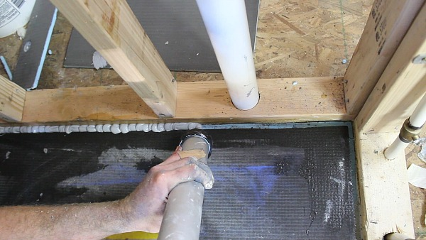 Picture of Squeeze Wedi Joint Sealant Into Pan Dado