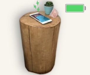 Wood Log Side Table With Wireless Charger