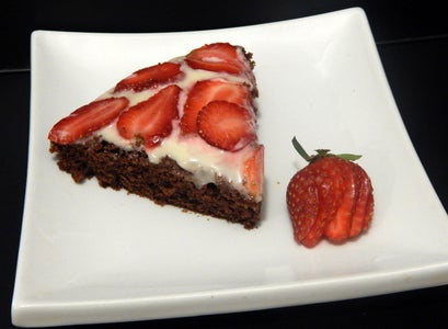 Chocolate Cake With Cream Cheese & Strawberry Topping