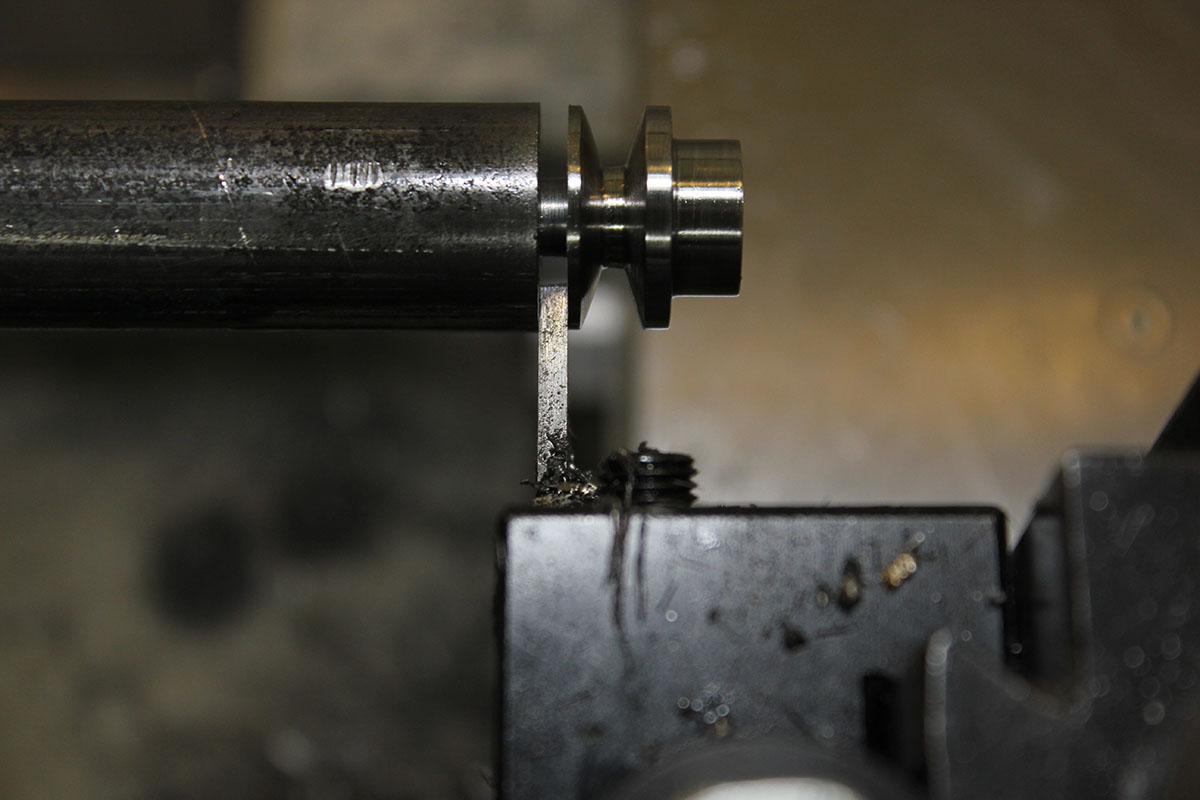 Picture of Cutoff Pulley With Parting Tool.
