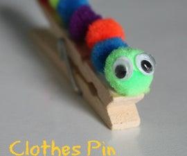 Kids Caterpillar Clothes Pin Craft