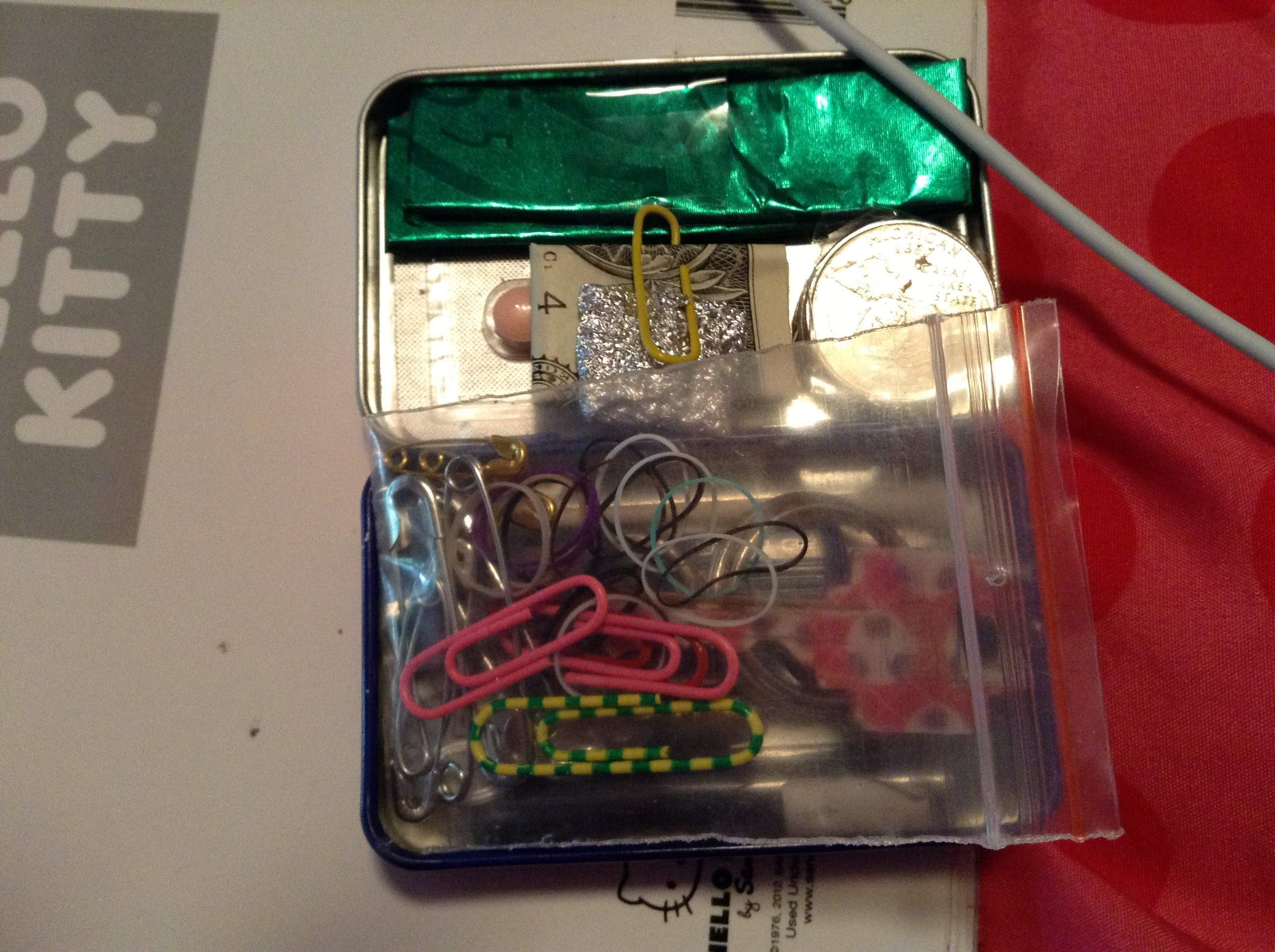 Picture of Put the Paper Clips, Rubber Bands and Safety Pins in a Little Bag