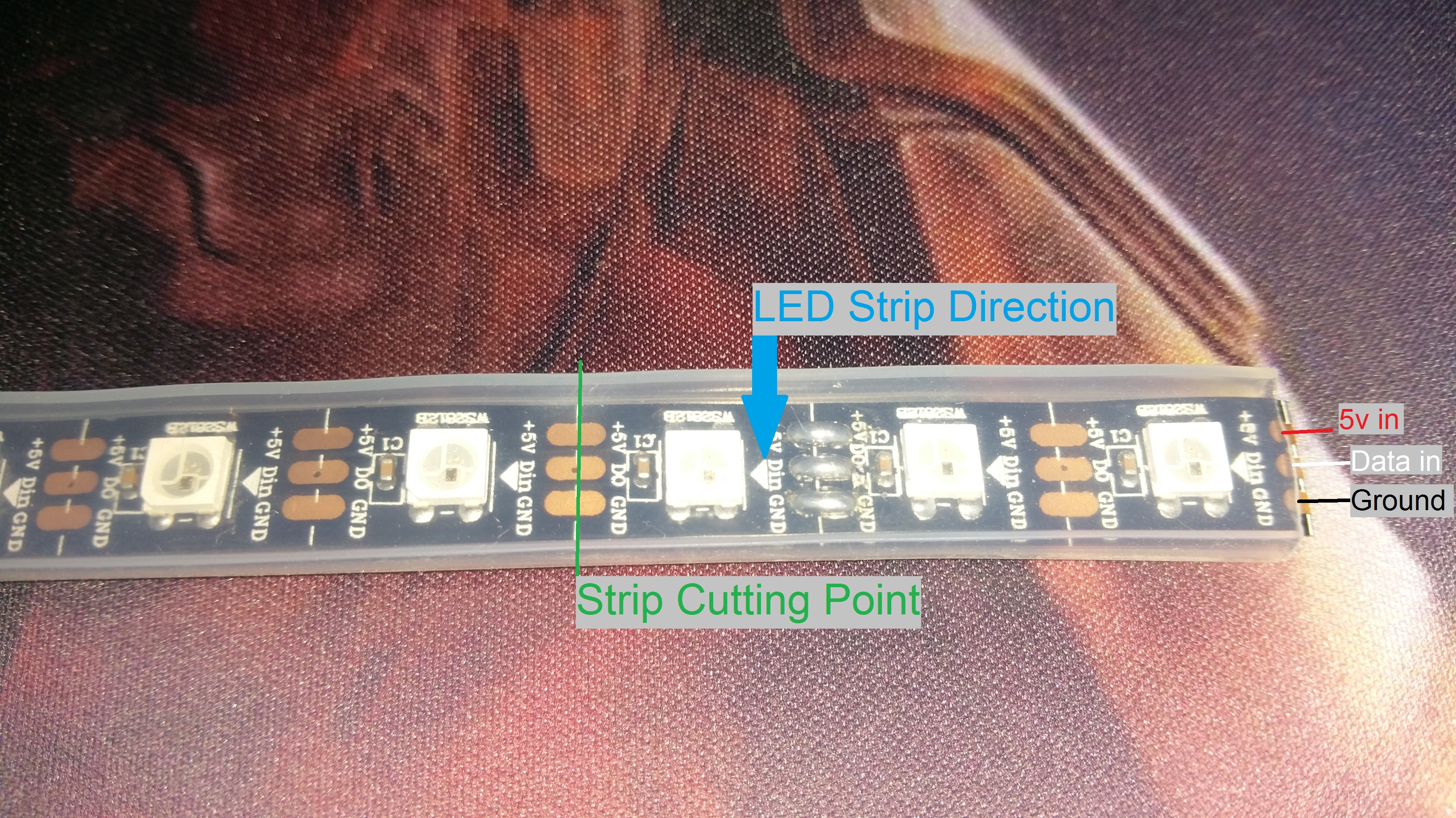 Picture of Measuring and Cutting the LED Strip