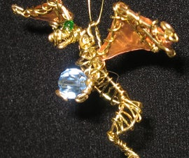 Wire-wrap Dragon Pendant with foil wings