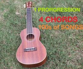 1 Progression, 4 Chords, 100s of Songs! (Beginner Ukulele R-H players)