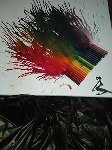 Silhouette W/ Melted Colorful Crayons