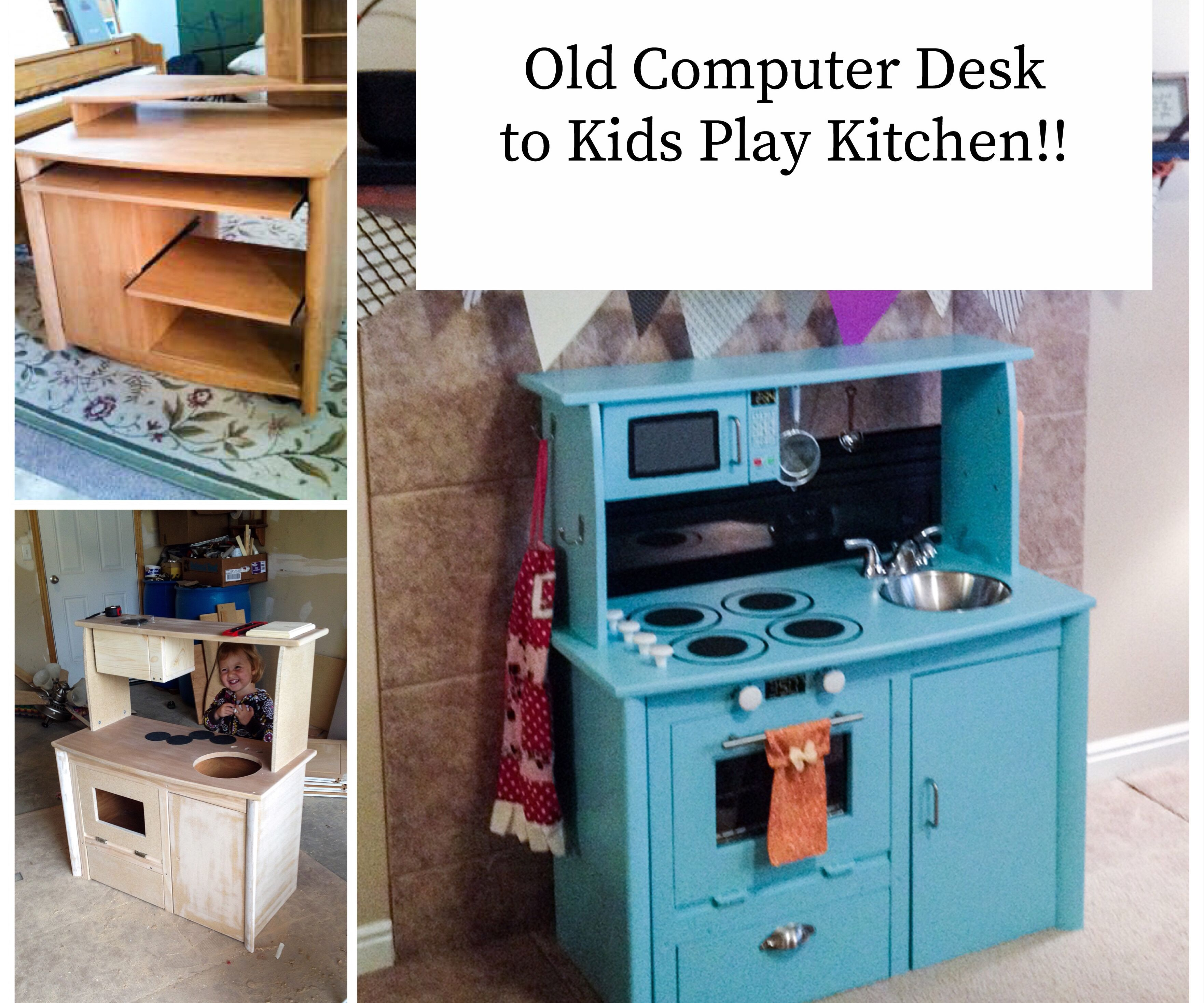 Kid Play Kitchen From an Old Computer Desk: 12 Steps (with ...
