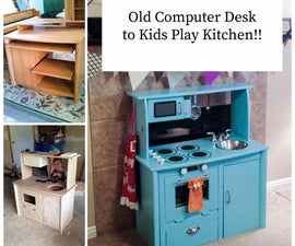 Kid Play Kitchen From an Old Computer Desk