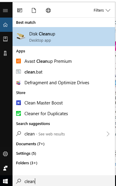 Picture of Click on Disk Cleanup
