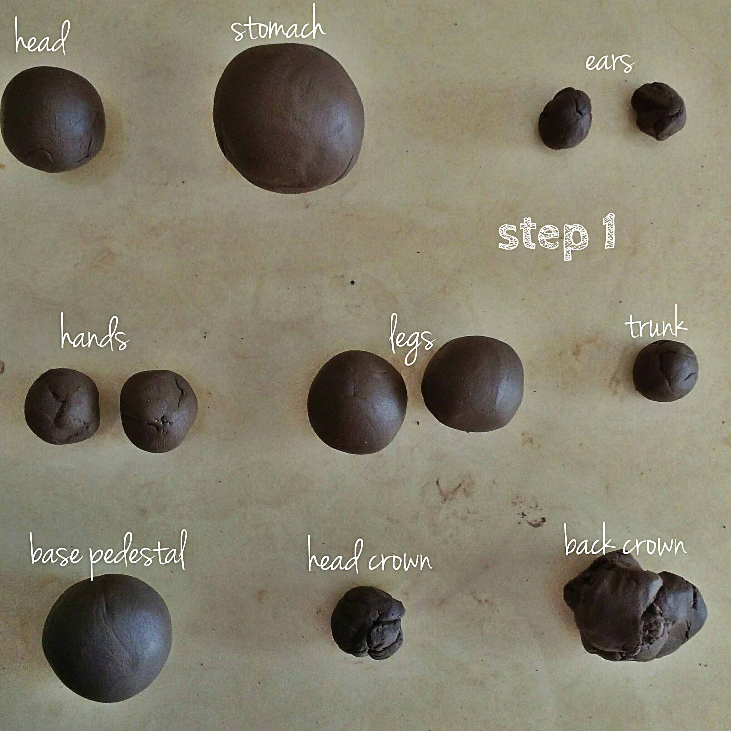Picture of DIVIDE YOUR CLAY TO FORM THE VARIOUS BODY PARTS