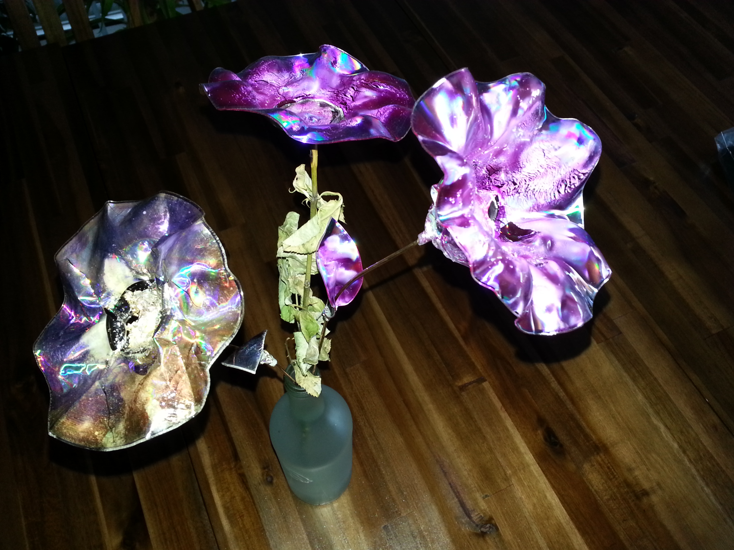 Picture of JoY's Rawcopiednature Eternal Beauty Flowers From Upcycled CDs and DVDs