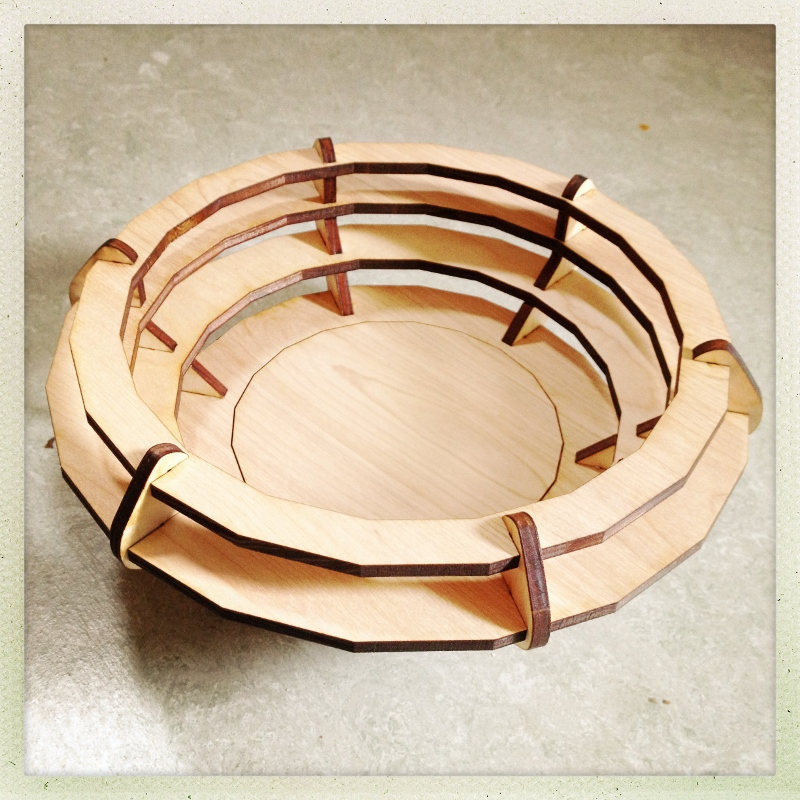 Picture of Laser Cut Bowl in Cardboard and Wood.
