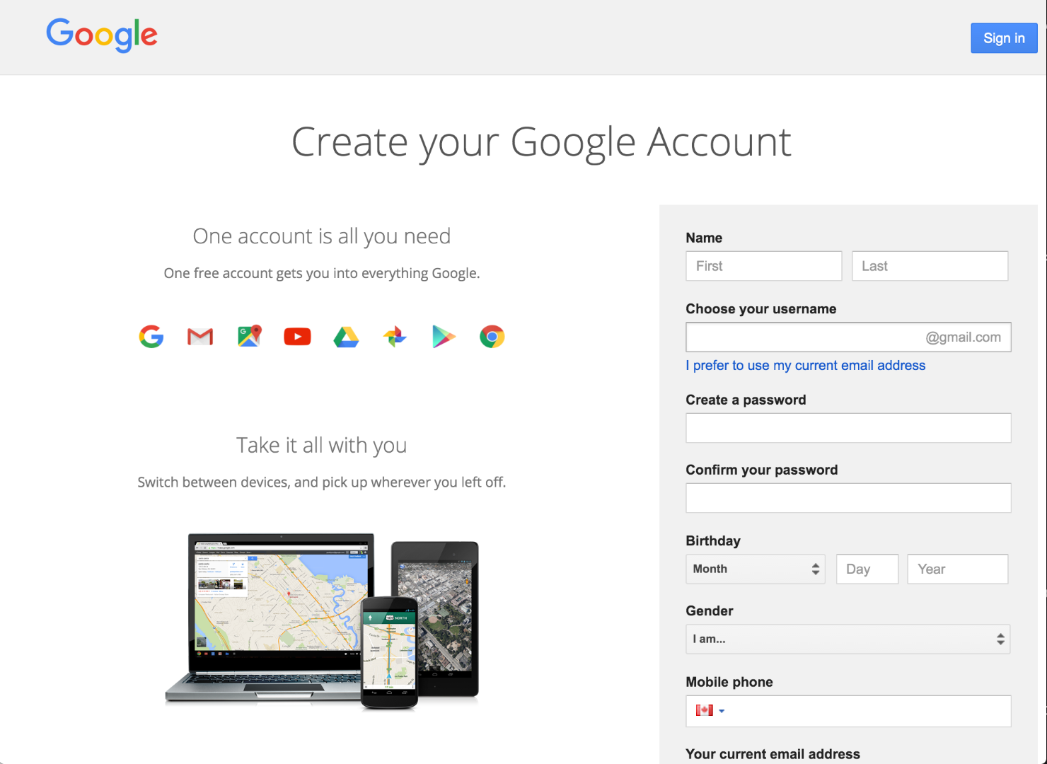 Picture of Set Up a Google Account