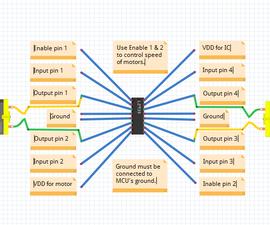 L293D motor driver pinout diagram