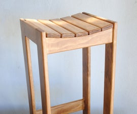 Barstool With Curved Slatted Seat
