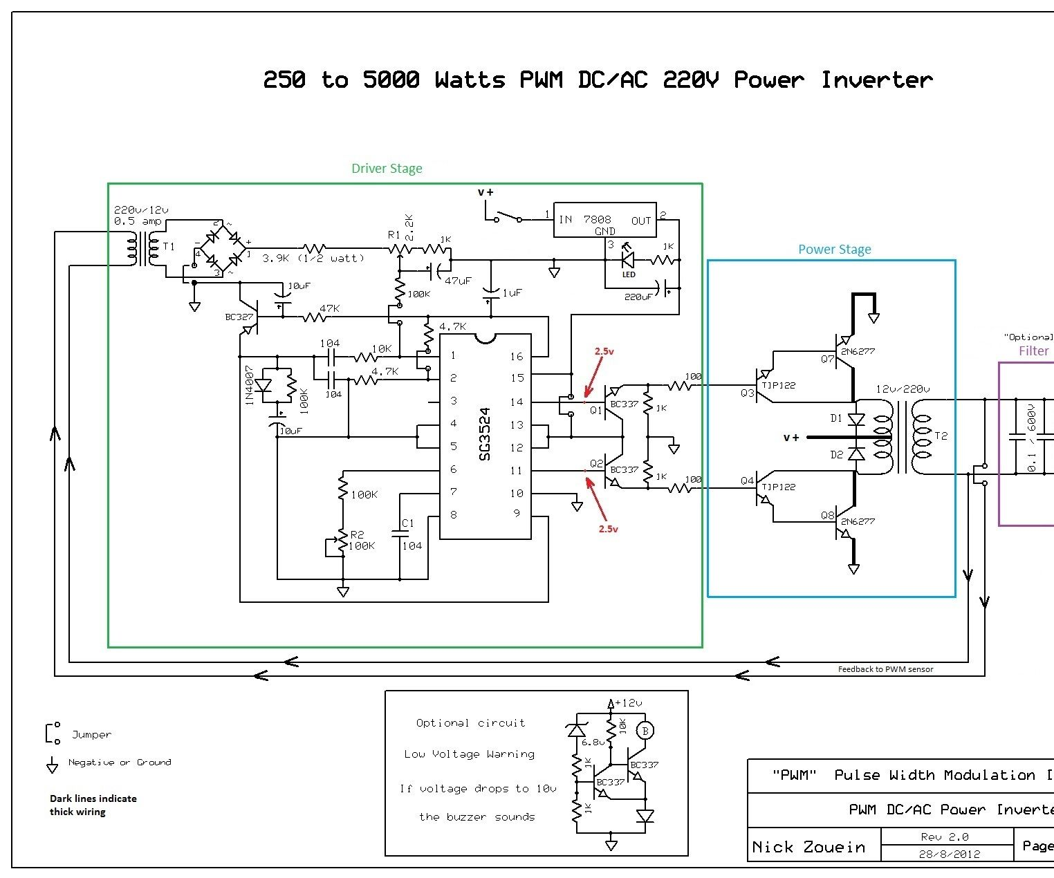 250 To 5000 Watts Pwm Dc Ac 220v Power Inverter Middle Of Run Schematic Wiring Diagram