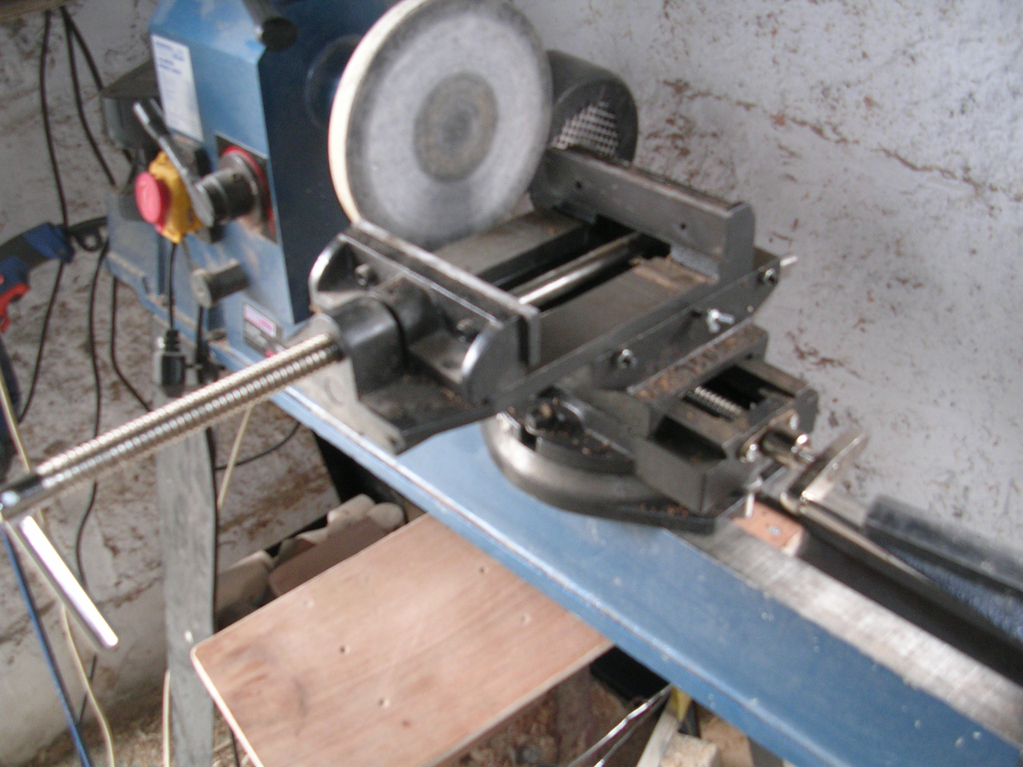 Picture of Lathe Upgrades.  2 Axis Vice and Rotozip - Mill Perfect Plywood Disks.