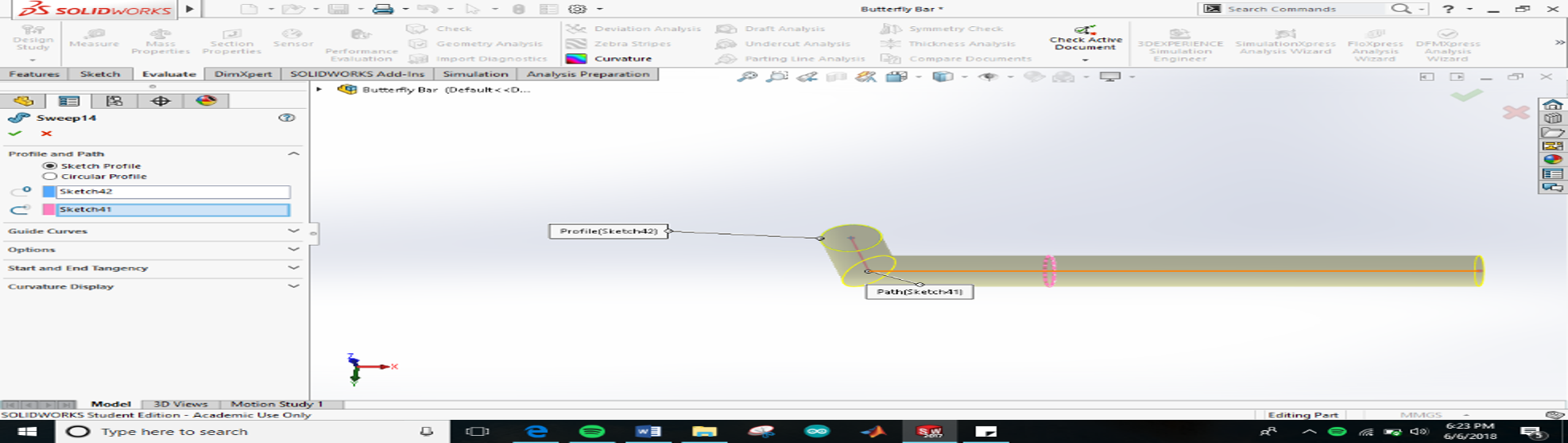 Picture of Designing the Butterfly Bar and Support System in Solidworks