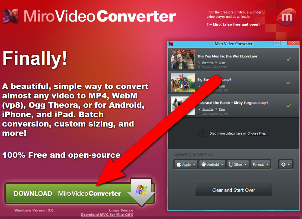 Picture of Download Miro Video Converter