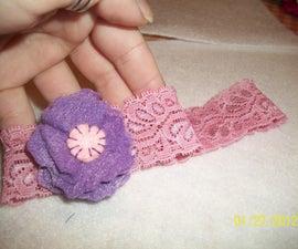 Lace Baby Headband with Felt Flower