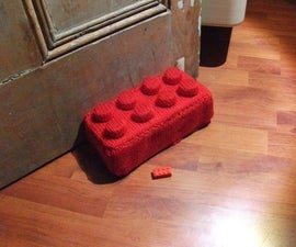 How to knit a giant Lego brick doorstop