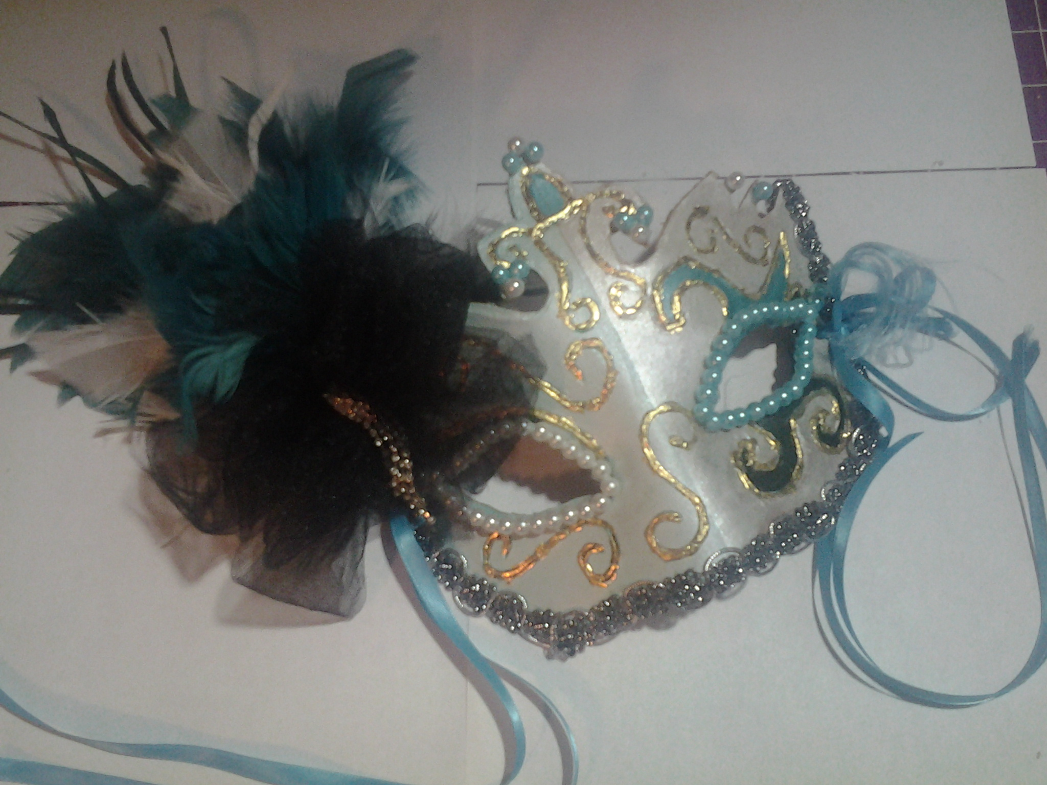Picture of Finished Terrific in Teal Masquerade Mask!