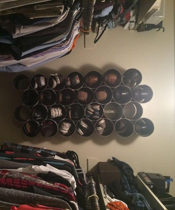 DIY PVC Wall Mounted Closet Shoe Rack