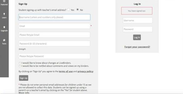 Create a Profile on LiveBinder
