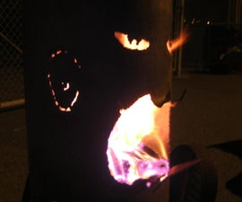 """""""Mr. Fire Face"""" the Outdoor Fireplace Made from  old Propane Tank"""