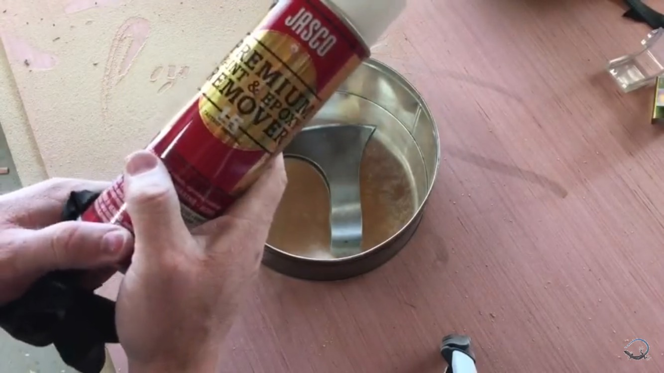 Picture of Strip Clear Coat From Axe Head