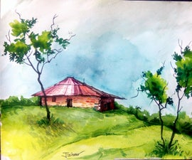 House on the Mountain Using Water Colour Painting