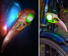 3D Printed Copper Plated Raven Skull Bicycle Light