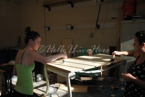Apply Glue to the Table Frame Bench Top