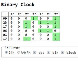 Binary Clock in ECMA/JS