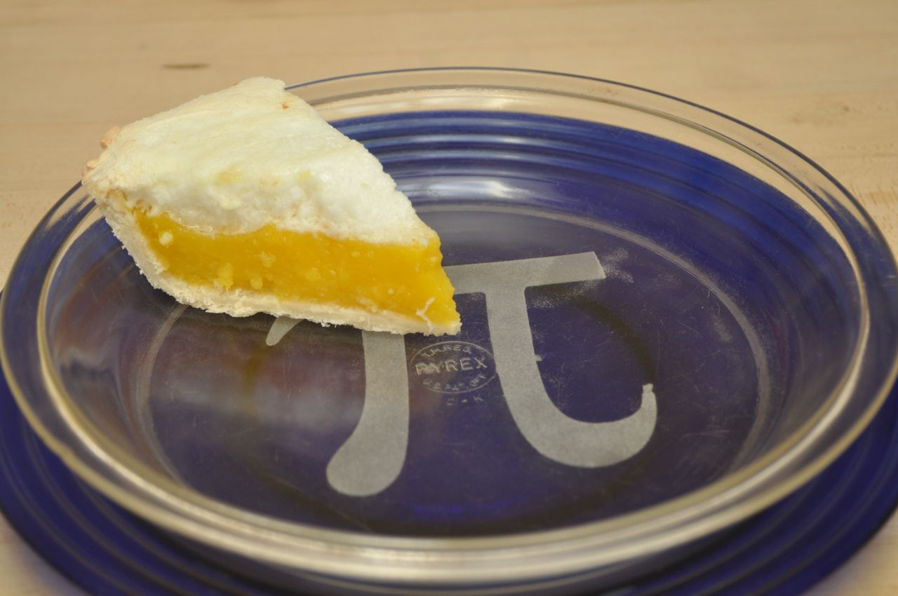 "Picture of Etched Glass ""Pi"" Pie Pans"
