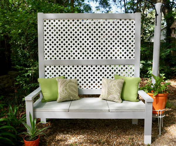 Outdoor Privacy Bench With Concrete Seat