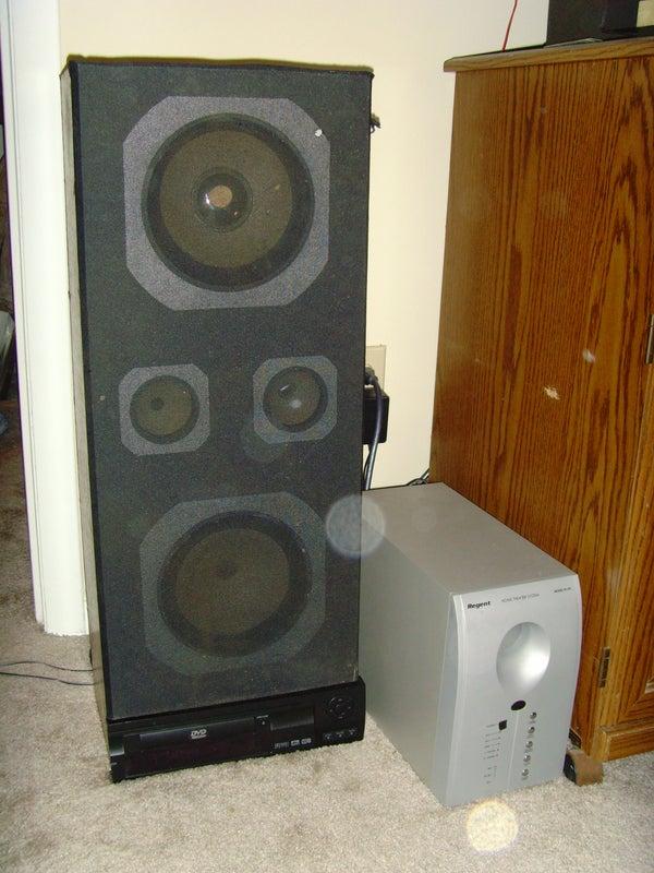 Speaker With Hidden DVD Shelves & DVD Player