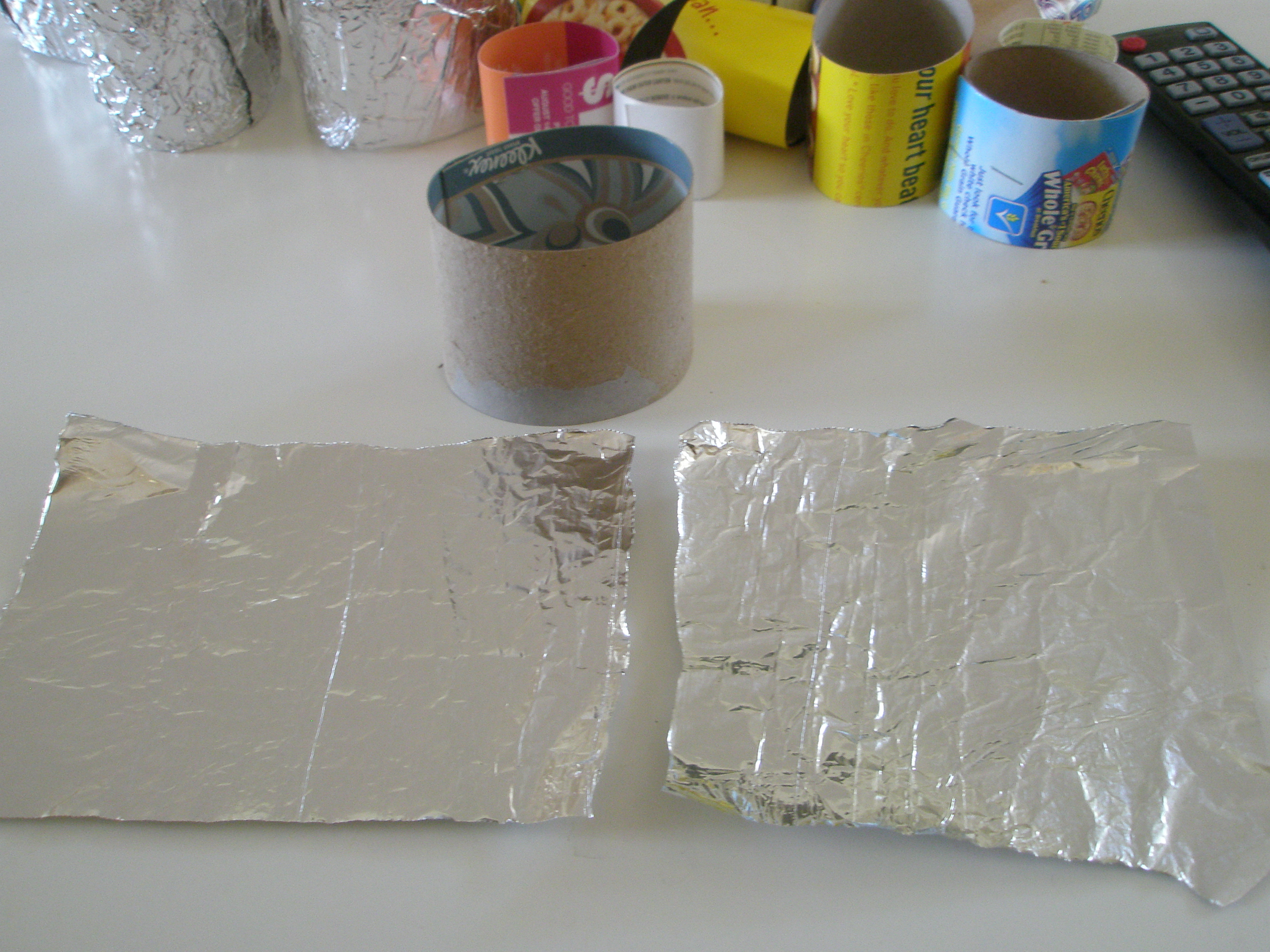 Picture of Making the Molds - Covering With Foil
