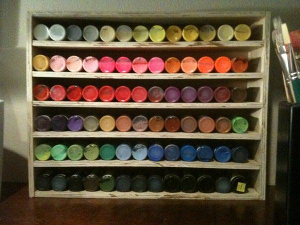 DIY Craft Paint Organizer Display From Scrap Wood