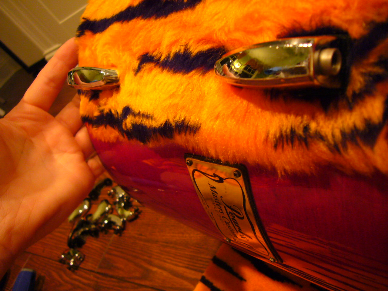 Picture of Wrap the Fur Around the Drum Shell,  Make Holes in Fabric