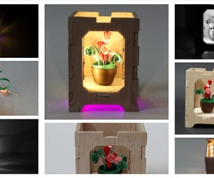 Quilled Miniature Flower Pot With Wooden Box - Lampshade by Night