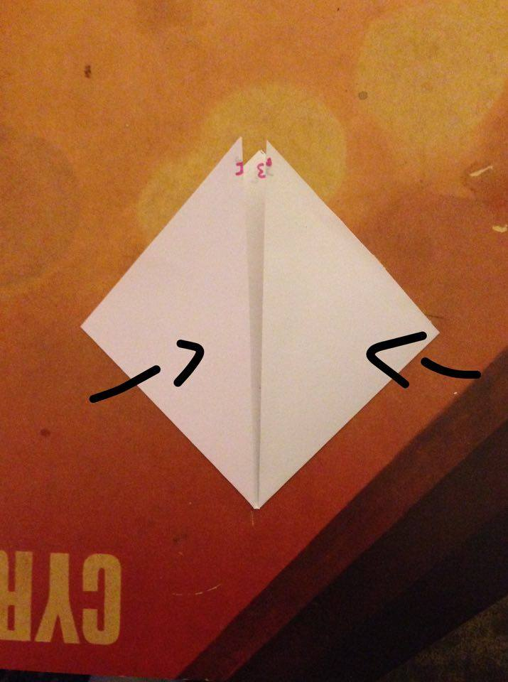 Picture of Fold the Right an Left Corners Inwards So That the Horizontal Edges Meet in the Center.