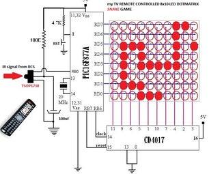 TV Remote Controlled LED Dotmatrix Snake Game