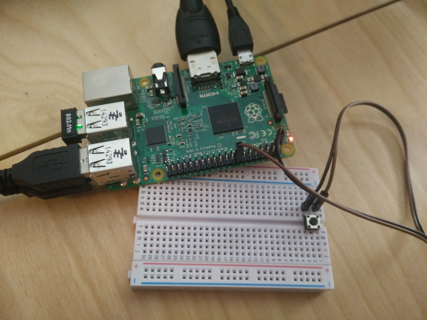 Picture of Raspberry Pi E-mail Push Button Device Using Gmail