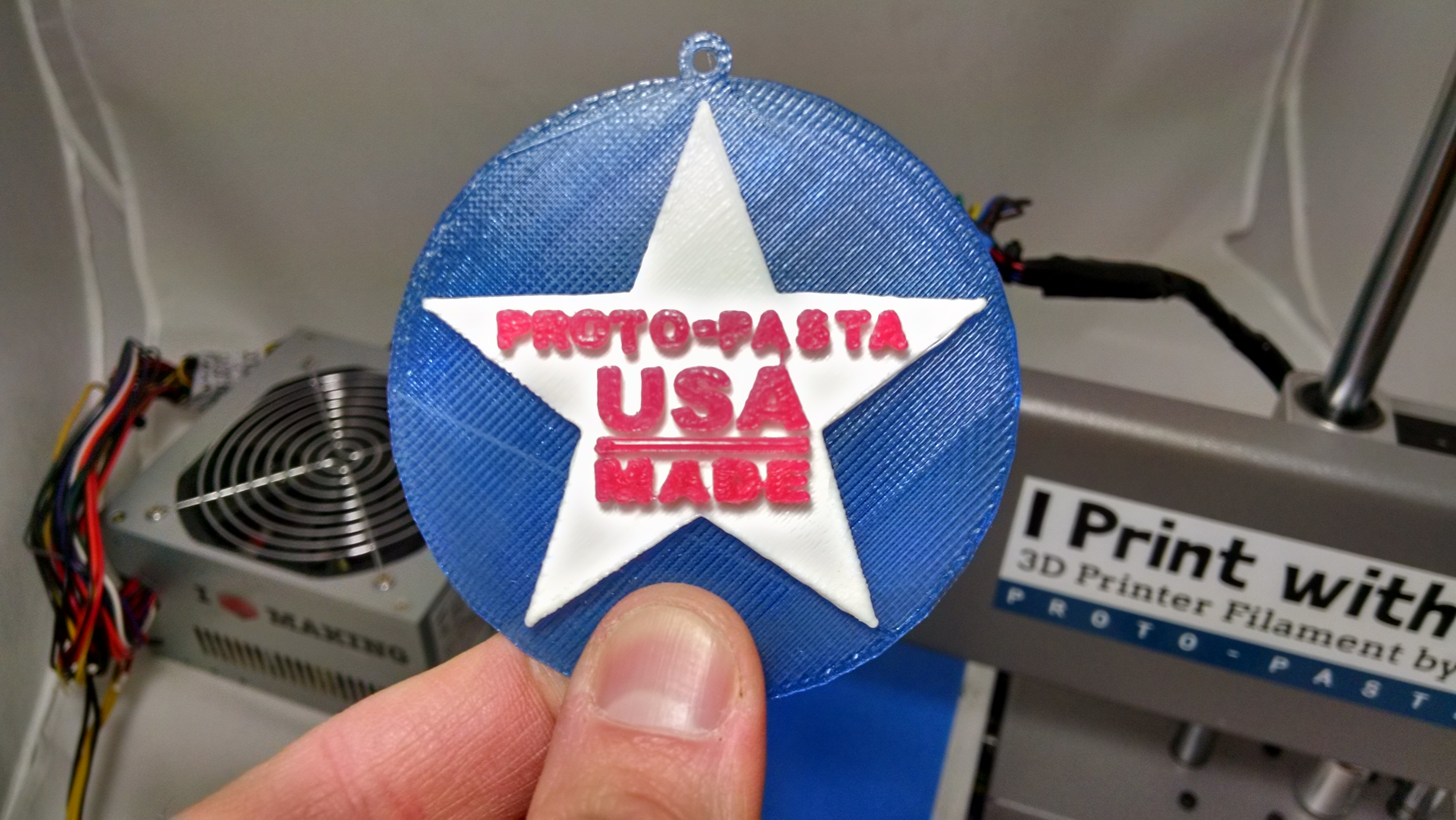 "Picture of A ""Simple"" Multi-material 3D Printed Ornament Using Proto-pasta, TinkerCAD, and the Printrbot Simple Metal"