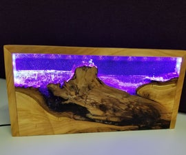 Wood and Resin LED Lamp