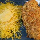 "How to Bake Gluten-Free ""Breaded"" Chicken with Spaghetti Squash ""Pasta"""