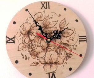 Pyrographed Vintage Rose Clock