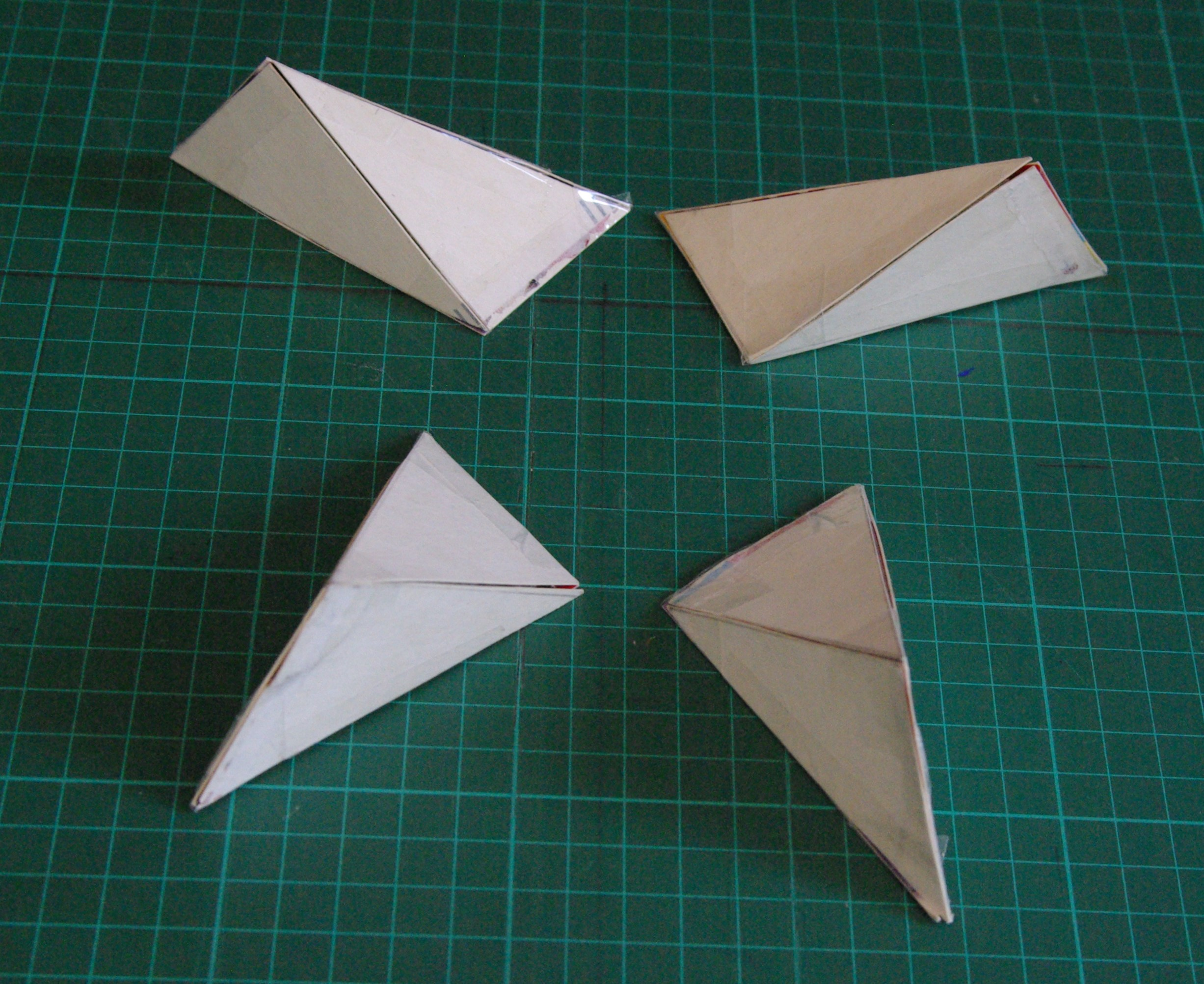 Picture of Construction of Nets Used for Assembling Four Non-regular Tetrahedra