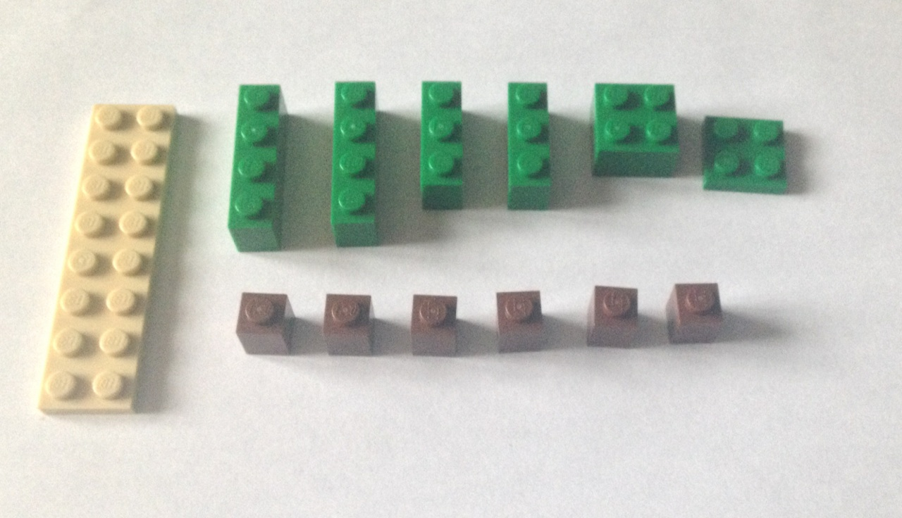 Picture of Leggo Pieces You'll Need to Build the Palm Tree